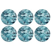 CARIBOU Drink Round Fabric Felt Neoprene Coasters Set of 6pcs, Mermaid Scales Blue Wave