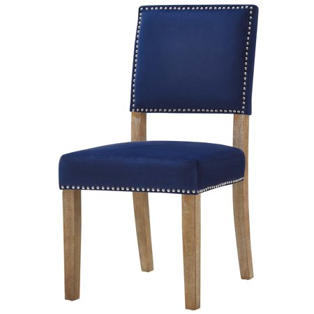 Modern Contemporary Urban Design Dining Kitchen Room Side Chair Fabric Navy Blue