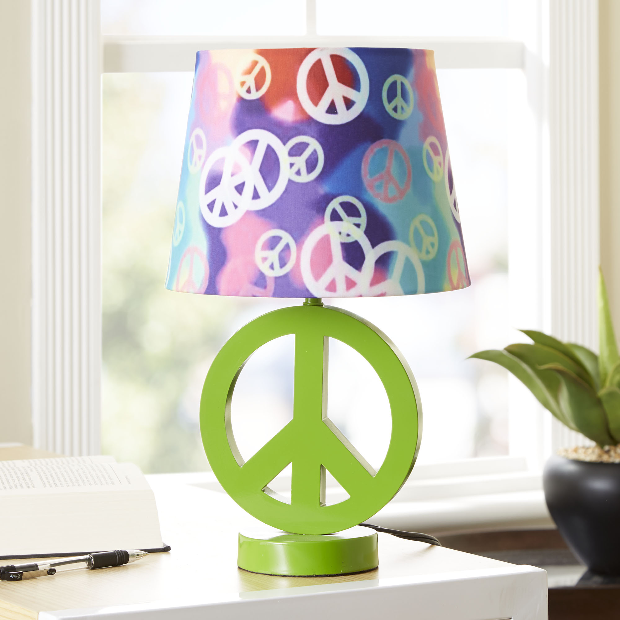 Your Zone Green Peace Sign Table Lamp with Rainbow Peace Shade