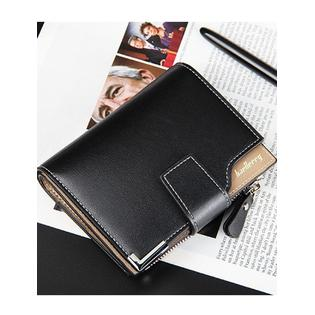 Men's Zipper Opening Mock Wallet Black