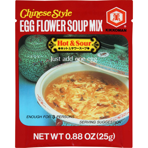 Kikkoman Hot & Sour Chinese Style Egg Flower Soup Mix, 0.88 oz, (Pack of 12)