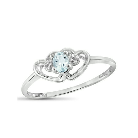 0.14 Carat T.G.W. Aquamarine Gemstone and Accent White Diamond Ring