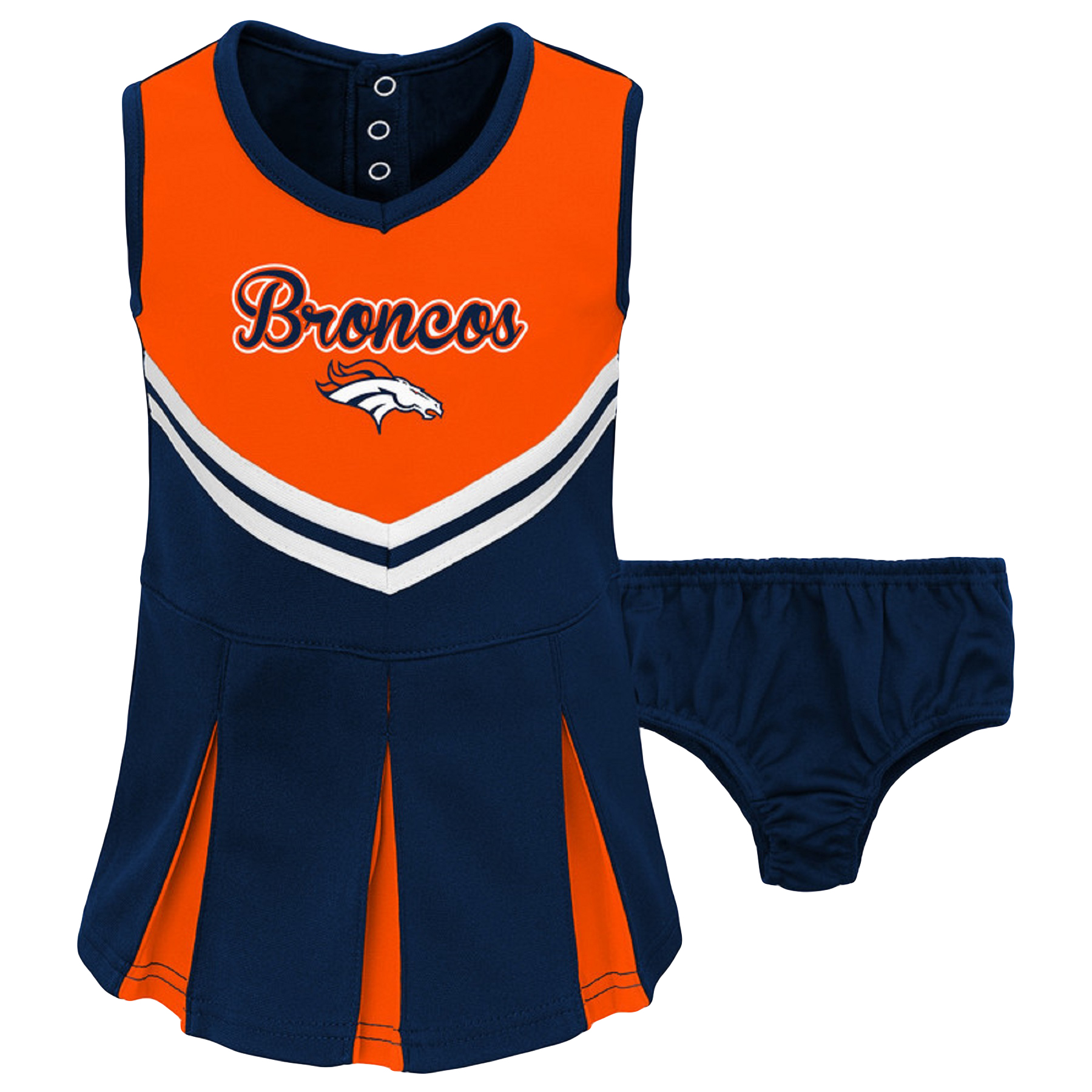 Toddler Orange/Navy Denver Broncos Cheerleader Dress & Bloomers Set