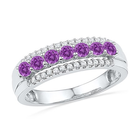 Size - 7 - Solid 10k White Gold Round Purple Simulated Amethyst And White Diamond Channel Set Seven Stones Wedding Band OR Fashion Ring (1/8 cttw) (Fashion Set Rings)