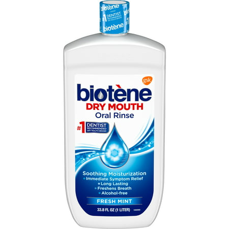 Biotene Fresh Mint Moisturizing Oral Rinse Mouthwash, Alcohol-Free, for Dry Mouth, 33.8