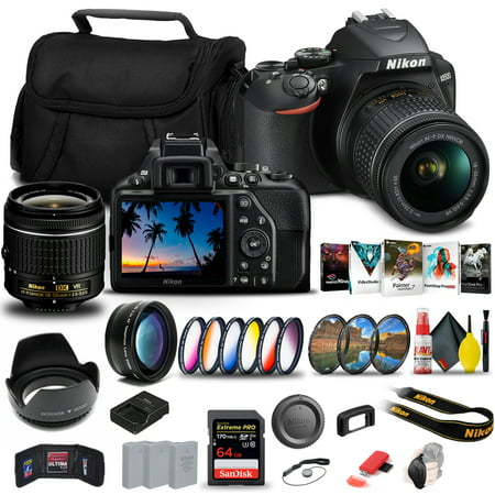 Nikon D3500 DSLR Camera with 18-55mm Lens (1590) + 64GB Extreme Pro Card + 2 x EN-EL14a Battery + Corel Photo Software + Case + Filter Kit + Telephoto Lens + Color Filter + More - International Model
