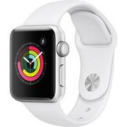 Refurbished Apple Watch Gen 3 Series 3 38mm Silver Aluminum - White Sport Band MTEY2CL/A