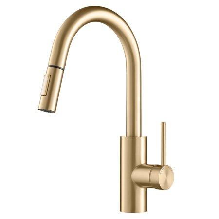 kraus oletto single handle pull down gooseneck kitchen sink faucet brushed gold. Black Bedroom Furniture Sets. Home Design Ideas