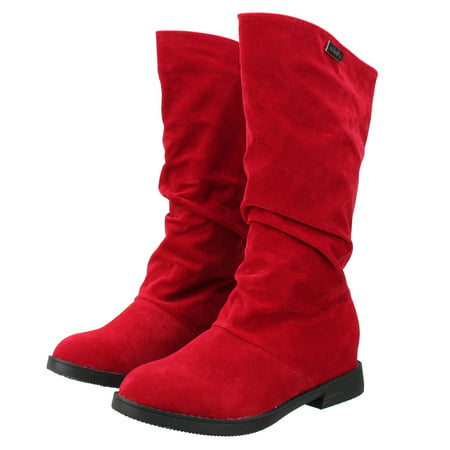 Meigar Womens Winter Warm Shoes Riding Boots Slouch Flat Heel Boot Hot Stylish