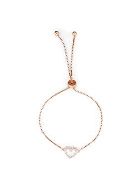 Sterling Silver Rose Gold Plated CZ Open Heart Element Drawstring Bracelet