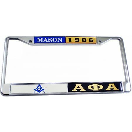 Mason + Alpha Phi Alpha Split License Plate Frame [Silver/Black - Car/Truck]