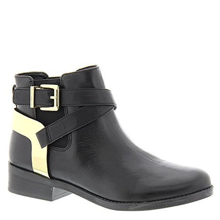 Krew Women's Black Leather Ankle Booties Moto Gold Harness