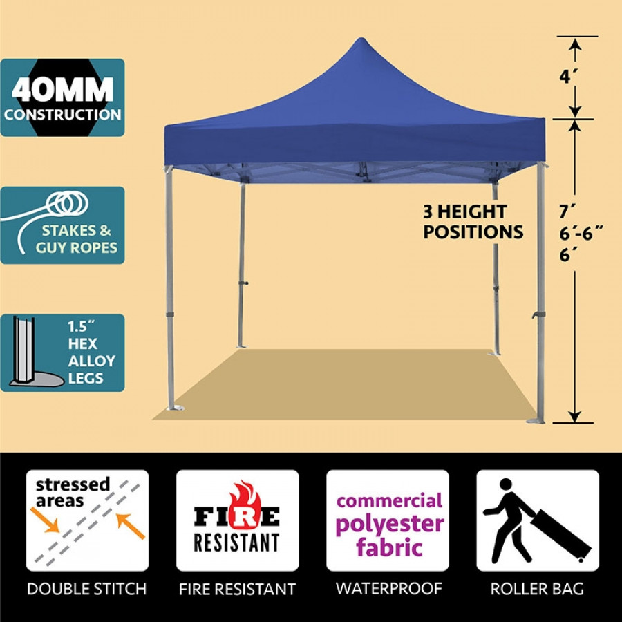 Party Tents Direct 10x10 40mm Speedy Pop Up Instant Canopy Tent (Blue)
