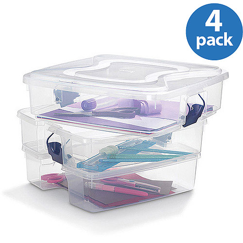 Homz 12-Gallon 3-in-1 Organizing Storage Tote, Set of 4