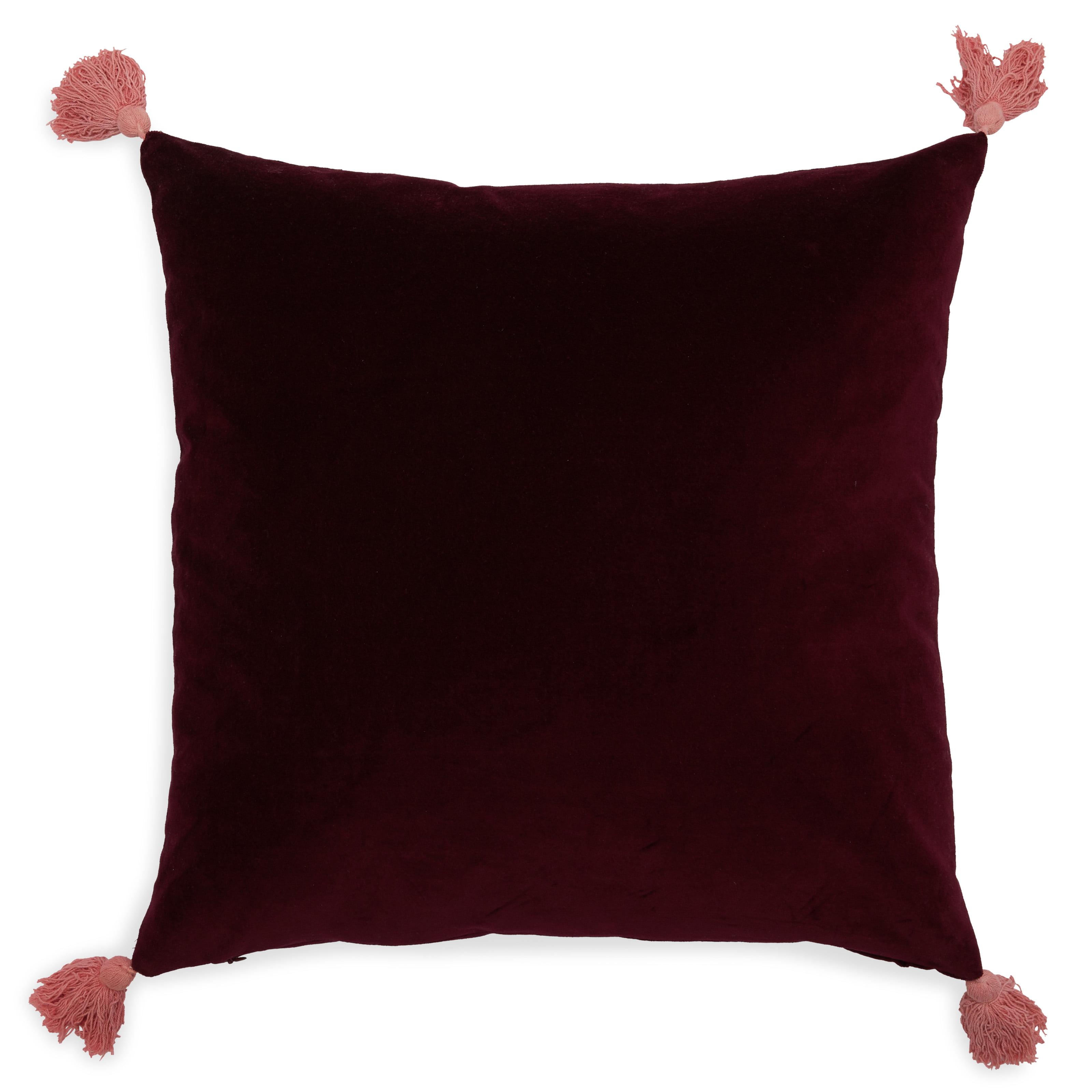 Velvet Decorative Throw Pillow With Tassels 20x20 By Drew Barrymore Flower Home Walmart Com Walmart Com