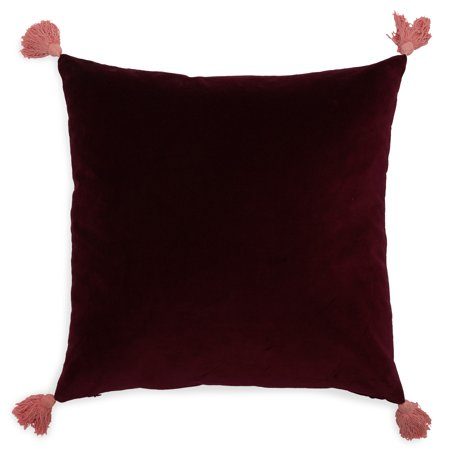 Velvet Decorative Throw Pillow with Tassels, 20x20