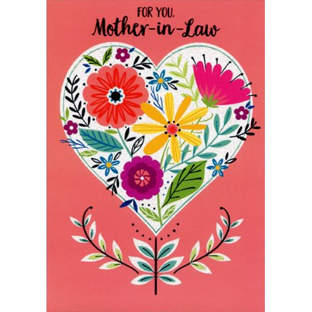 - Designer Greetings Flowers in Heart Shaped Flower Mother's Day Card for Mother-In-Law