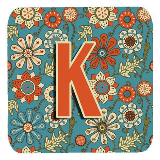 Carolines Treasures CJ2012-KFC Letter K Flowers Retro Blue Foam Coasters, Set Of 4 - image 1 de 1