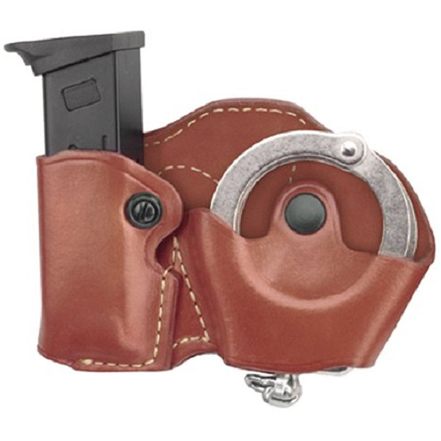Gould and Goodrich 841-4 Gold Line Cuff And Mag Case with Belt Loops, Chestnut Brown