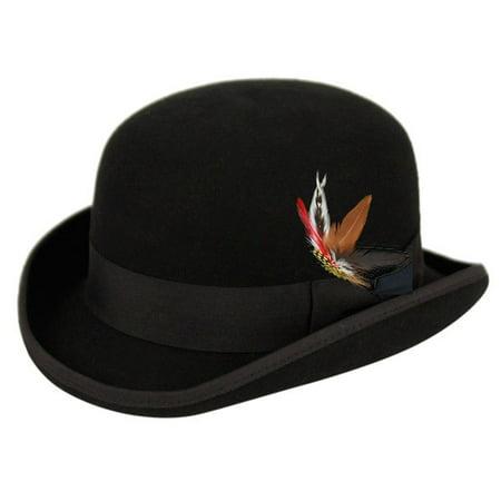 Premium Wool Felt Derby Bowler Hat w/ 12-ligne satin Grosgrain Band, Feather, Round Crown - Felt Bowler Derby Hat