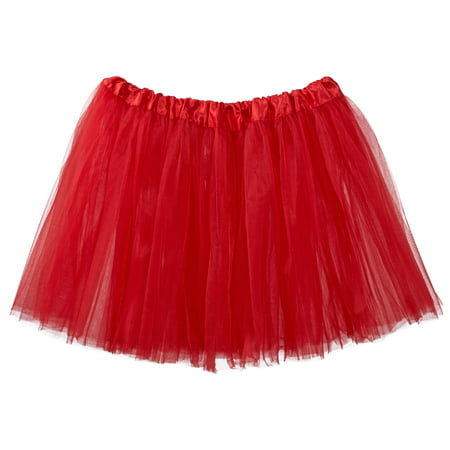 Adult Tutu Skirt, Classic Elastic 3 Layer Tulle Tutu for Women and Teens - Red](Plus Size Tulle Skirt)