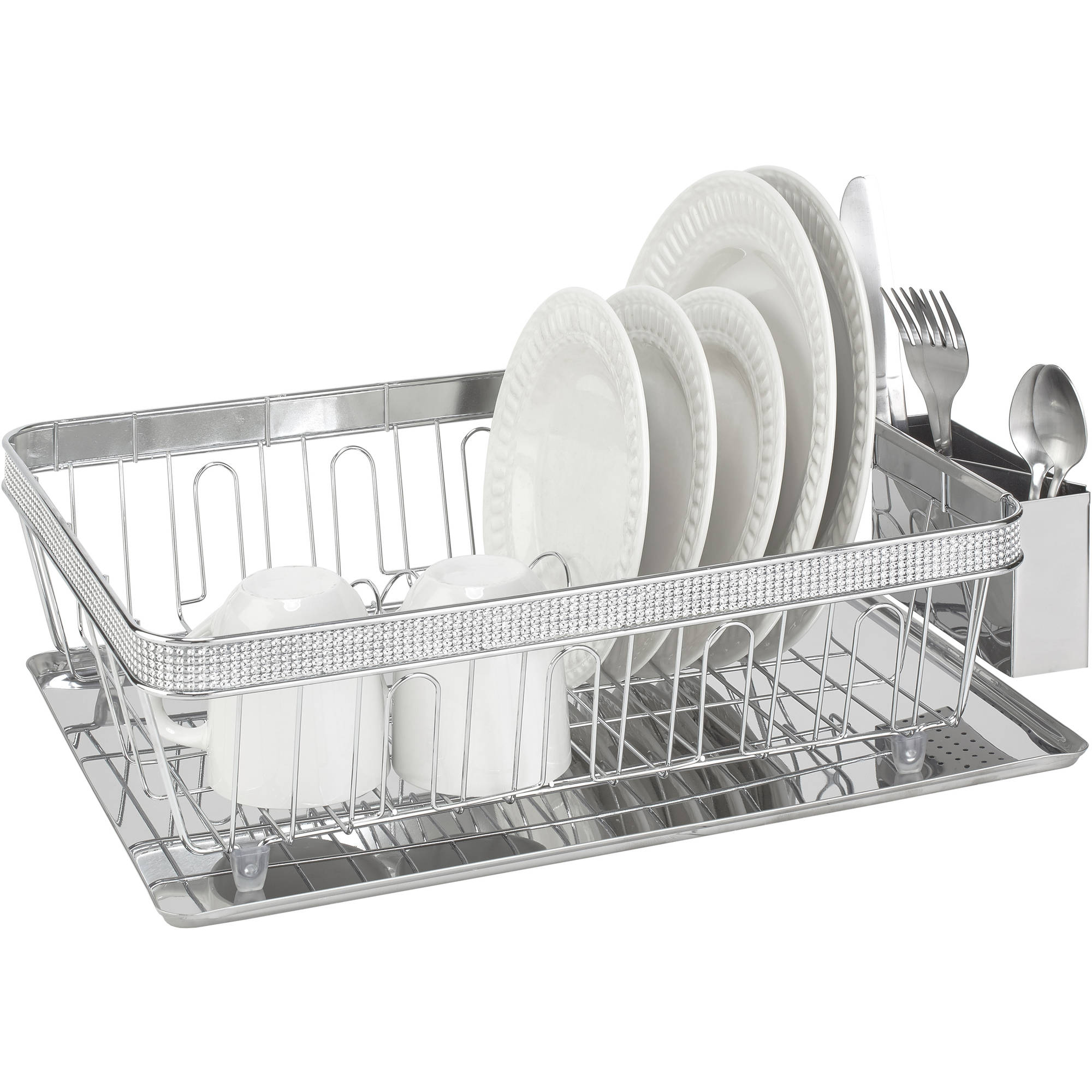 Kitchen Details Dish Rack With Cub And Tray, Chrome Pave Diamond Design