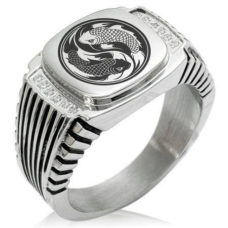 Stainless Steel Fish Ring (Stainless Steel Koi Fish Yin Yang CZ Ribbed Needle Stripe Pattern Biker Style Polished Ring)