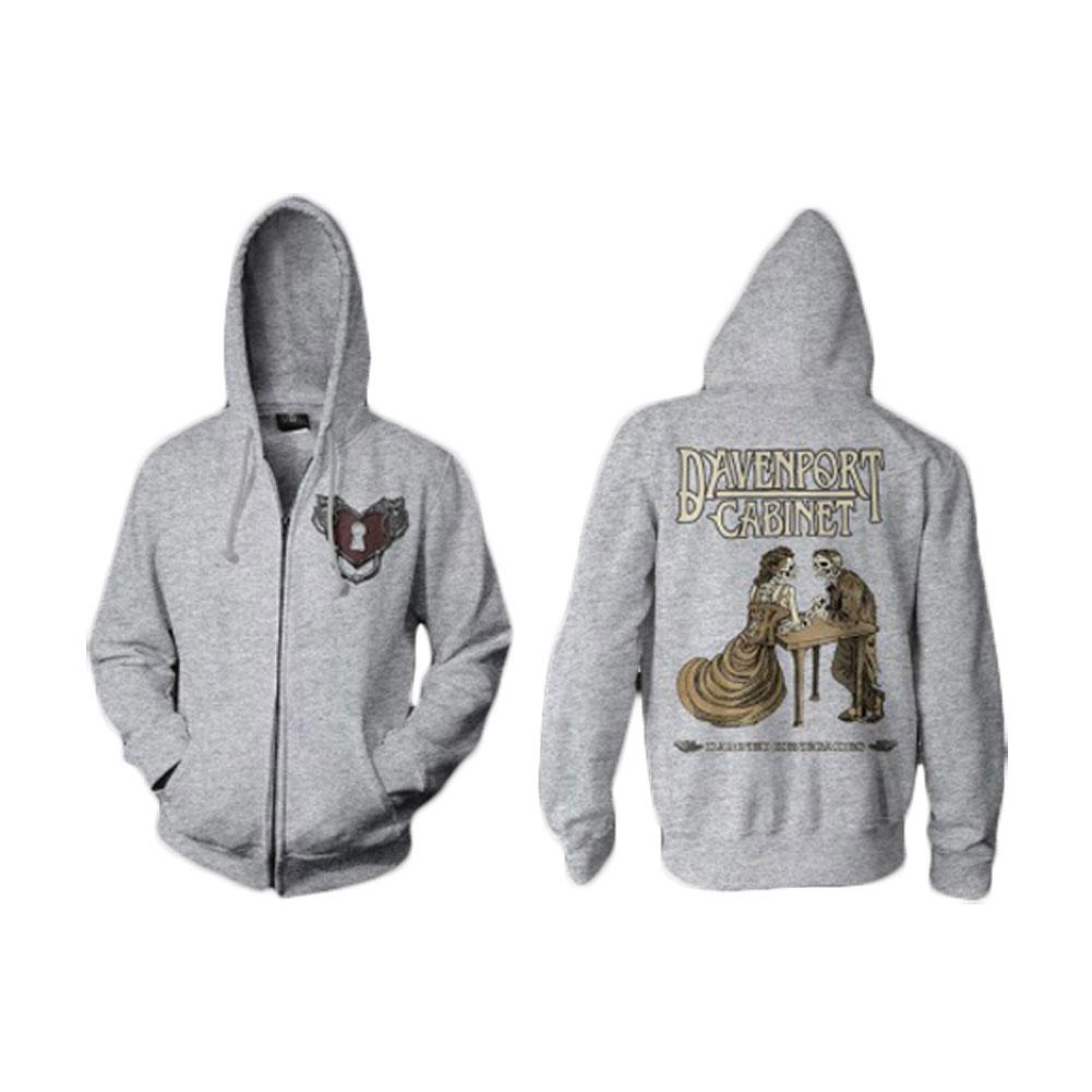 Davenport Cabinet Men's  Heart Lock Zippered Hooded Sweatshirt Heather