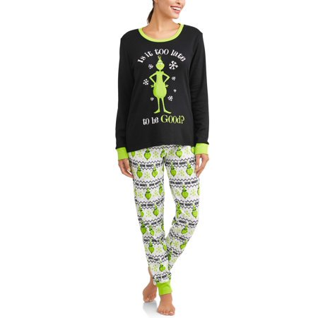Holiday Family Pjs Long Sleeve Tee & Jogger Pants, 2-piece Pajama Set (Women