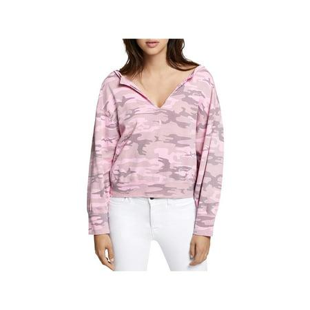 Sanctuary Womens Camouflage Split Neck Sweatshirt Split Cotton Sweatshirt