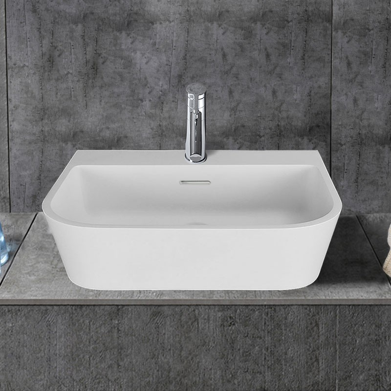 Decoraport White Rectangular Artificial Stone Above Counter Bathroom Vessel Sink Above Counter Sink Bowl Vanity Basin (HB9031)
