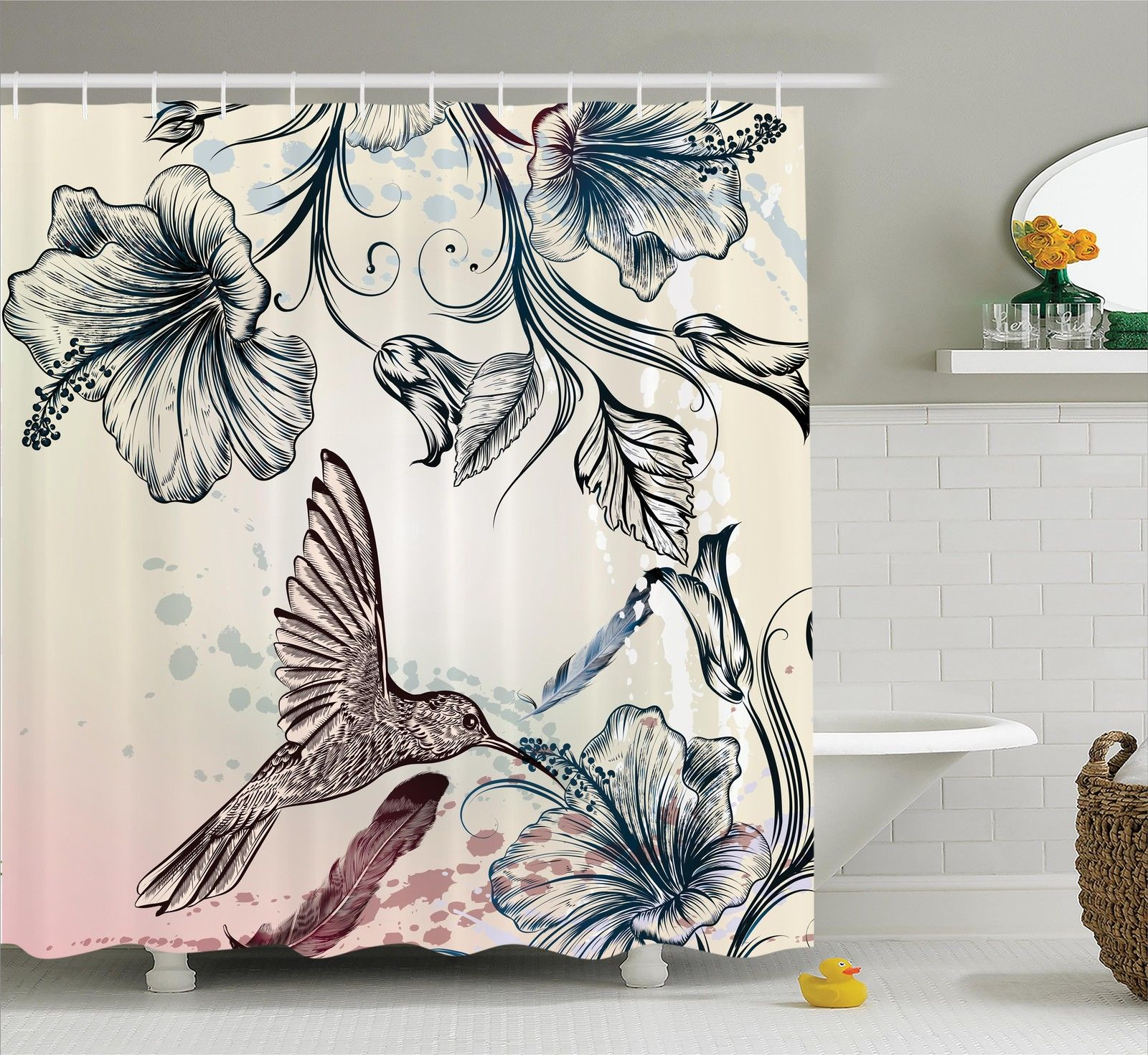Hummingbirds Decorations  Floral Art In Vintage Style With Hummingbird Hibiscus Flowers And Feathers, Bathroom Accessories, 69W X 84L Inches Extra Long, By Ambesonne