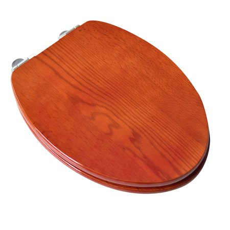 BathDecor Contemporary Design Full Cover Solid Oak Wood Elongated Toilet Seat with Slow Close Chrome Hinge with American Red Cherry Finish