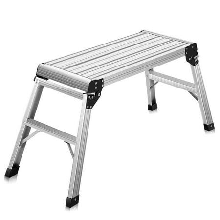 Aluminum Work Platform - Costway HD EN131 Aluminum Platform Drywall Step Up Folding Work Bench Stool Ladder