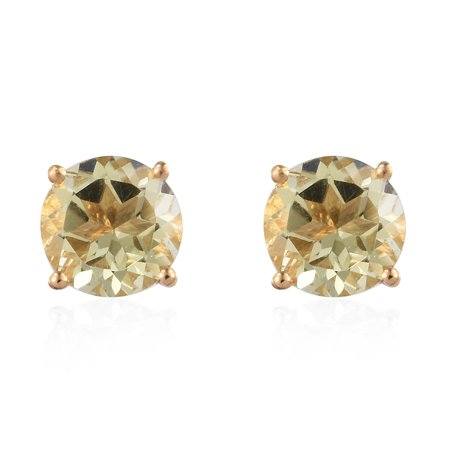 925 Sterling Silver 14K Yellow Gold Plated Round Green Gold Quartz Solitaire Earrings Cttw 1.8