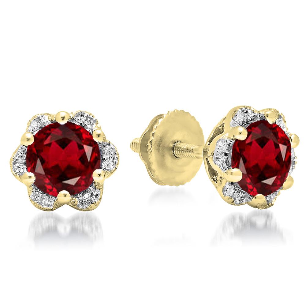 1.95 Carat (ctw) 18K Yellow Gold Round Cut Garnet & White Diamond Ladies Flower Shape Cluster Fashion Stud Earrings 2 CT