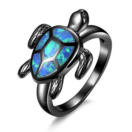 Women's Blue Green Fire Opal Inlay Sea Turtle Ring (Black gold plating or white gold plating) - Rings That Light Up