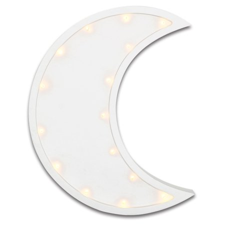 The Peanut Shell Infant Toddler Uni Nursery Wall Decoration White Crescent Moon Design With Tiny Theather Lights Marquee Light