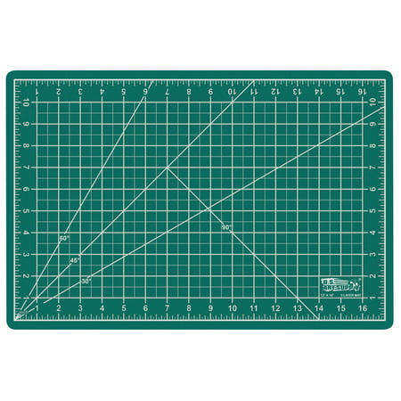 "12"" x 18"" GREEN/BLACK Self Healing 5-Ply Double Sided Durable PVC Cutting Mat"