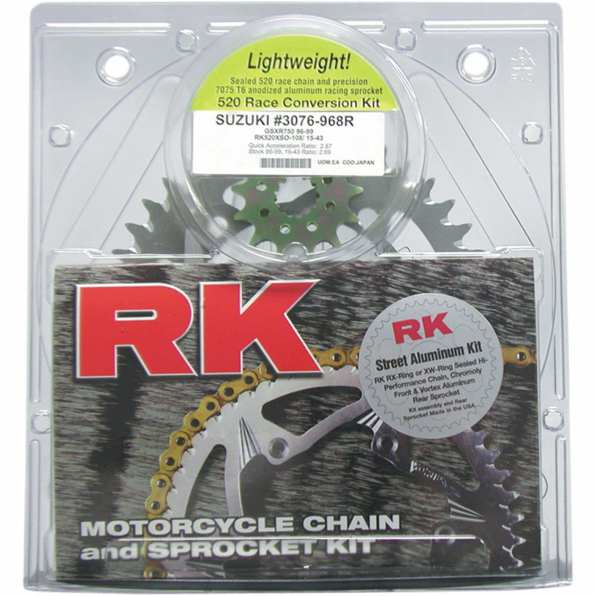 RK Racing Chain 5022-967ZG Silver Aluminum Rear Sprocket and GB520MXU Chain Race Kit