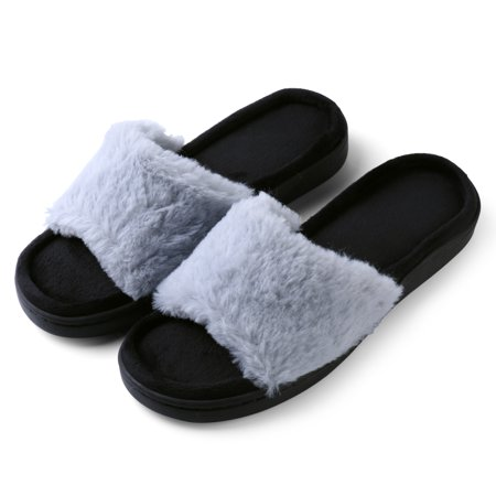 Women's Light And Fluffy Soft Plush Sandal Slippers with No-Slip Rubber Sole For Indoor, Outdoor, Spa Use (Gray) - Fluffy Bunny Slippers