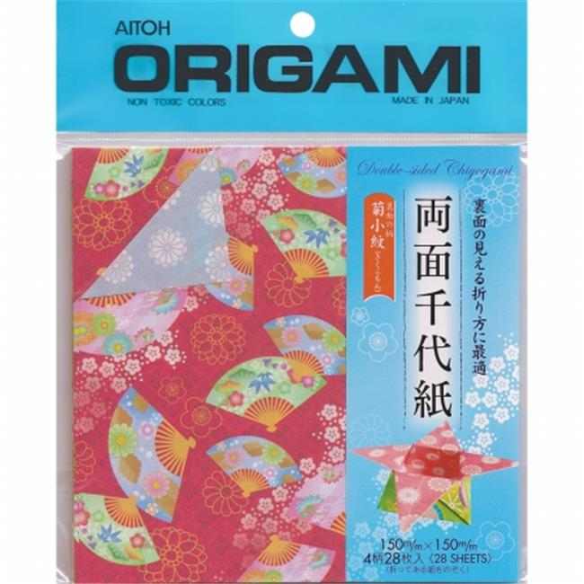 Aitoh RYO200 Origami Paper 28-Pkg-Ryomen Double Sided 5. 875 inch x 5. 875 inch