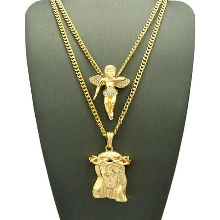Stone Set Shamrock Pendant (Stone Stud Floating Angel & Jesus Face Pendant Set 3mm 61cm & 76cm Concave Cuban Chain Necklace in Gold-Tone)