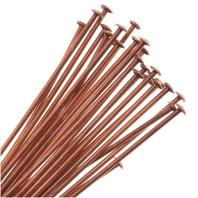 Genuine Antiqued Copper Head Pins 22 Gauge 1.5 Inches (24)
