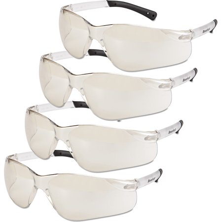 Crews BearKat Safety Glasses, Frost Frame, Clear Mirror Lens, Bundle of (Mirror Ignitor Clear Lens)