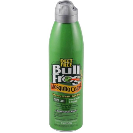 Bullfrog Mosquito Coast Continuous Spray Sunscreen With Insect Repellent  Spf 30  6 Fl Oz