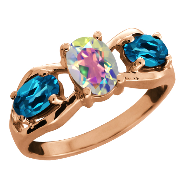 2.05 Ct Oval Mercury Mist Mystic Topaz and Topaz Gold Plated Silver Ring