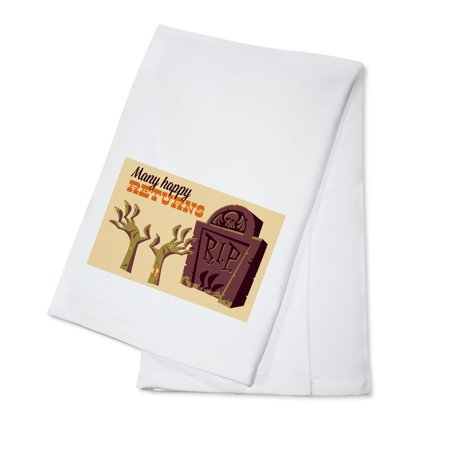 Gravestone - Many Happy Returns - Retro Halloween - Lantern Press Artwork (100% Cotton Kitchen Towel)](Homemade Gravestones For Halloween)