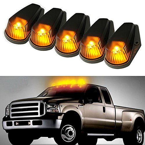 iJDMTOY 5PCS Smoke Lens Classic Style Cab Roof Marker Running Lamps With LED Light Bulbs For Ford F150 F250 F350 Dodge RAM GMC Sierra 1500 2500 Yukon Chevrolet Silverado Toyota Tundra Tacoma Truck SUV