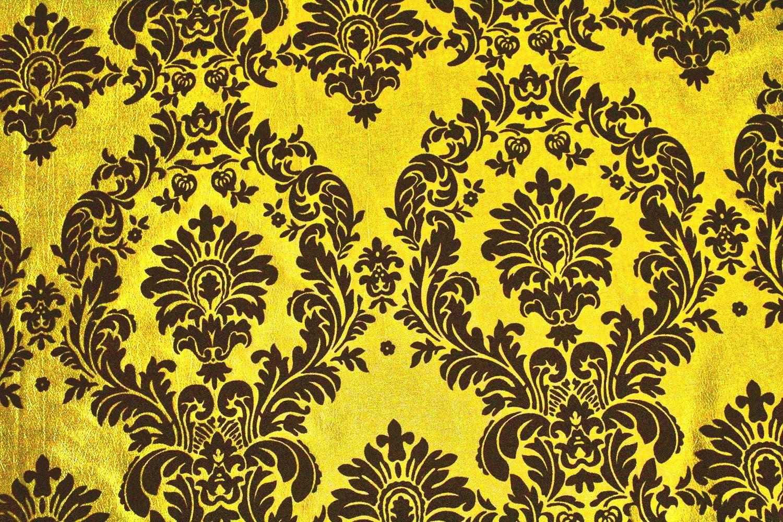 "5 Yards Yellow Black Flocking Damask Taffeta Velvet Fabric 58/"" Flocked Decor"